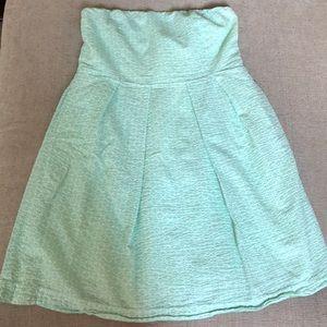 Jcrew sea foam green strapless dress
